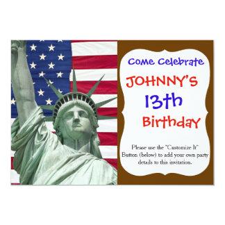 Estátua da liberdade e bandeira americana convite 12.7 x 17.78cm