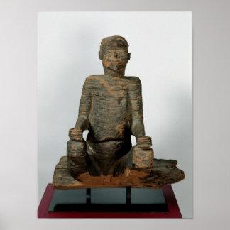 Estátua de um homem assentado Mbembe Nigéria Pôsteres