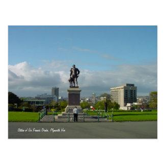 Estátua do senhor Francis Drake, cartão de Plymout Cartao Postal