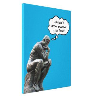 Estátua engraçada do pensador de Rodin - pizza ou Impressão Em Tela