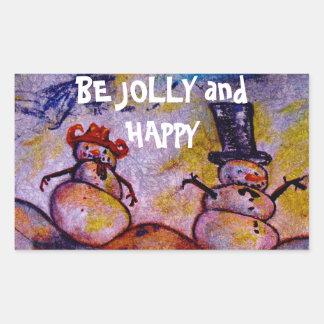 Esteja alegre e feliz adesivo retangular