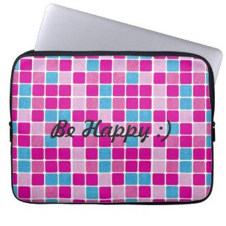 Esteja feliz:) teste padrão colorido do azulejo capas para laptop