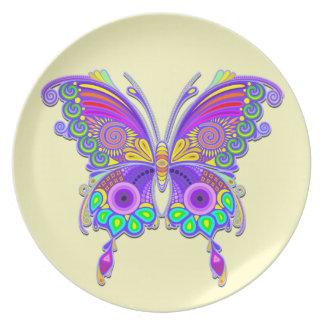 Estilo colorido do tatuagem da borboleta pratos
