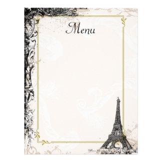 Estilo do francês do vintage do menu da torre Eiff Papel De Carta