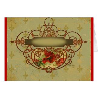 Estilo do Victorian da flor de lis das papoilas Cartão Comemorativo
