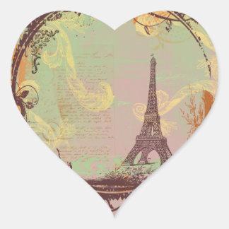 Estilo do vintage da torre Eiffel Adesivo Coração