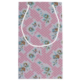 Estilo floral cor-de-rosa do vintage do saco do sacola para presentes pequena
