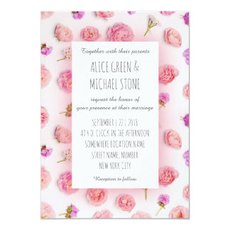 Estilo floral romântico convite 12.7 x 17.78cm