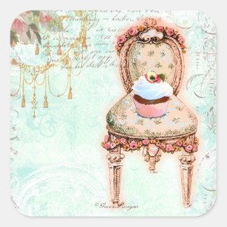 Estilo francês do Victorian do cupcake Adesivo Quadrado
