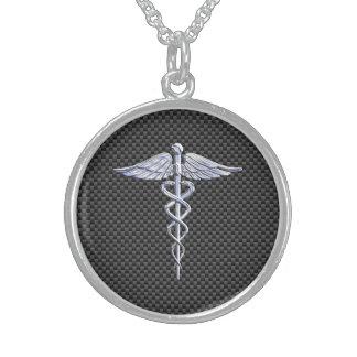 Estilo médico da fibra do carbono do símbolo do colar com pendente redondo
