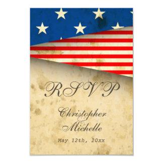 Estilo patriótico do vintage da bandeira dos E.U. Convite 8.89 X 12.7cm