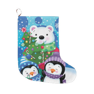 Estoque do urso polar e dos pinguins bota de natal grande