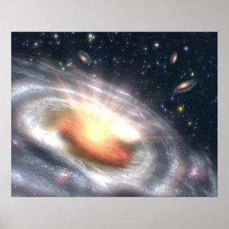 Estouro com estrelas e buracos negros pôsteres