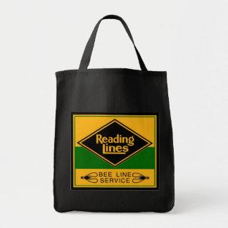 Estrada de ferro da leitura, linha serviço da sacola tote de mercado