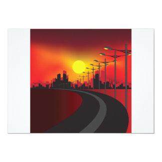 Estrada em convites do por do sol