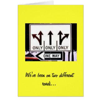Estradas separadas cartão comemorativo
