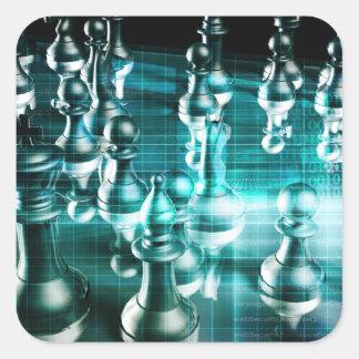 Estratégia empresarial com um conceito do conselho adesivo quadrado