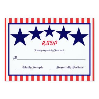 Estrela branca & azul vermelha - cartão de RSVP Convite 8.89 X 12.7cm