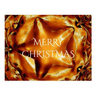 Estrela brilhante do ouro de cobre do Feliz Natal Cartão Postal
