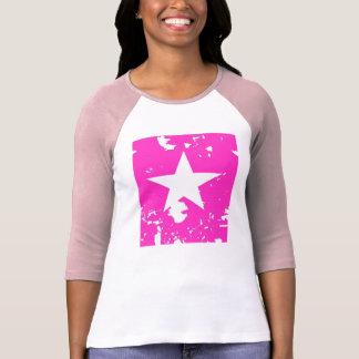 Estrela cor-de-rosa e branca abstrata tshirts