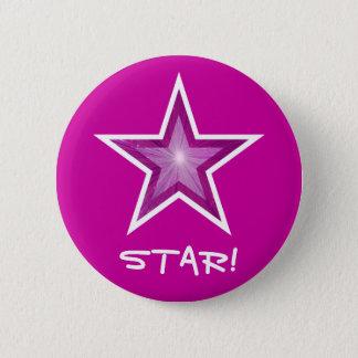 """Estrela cor-de-rosa """"ESTRELA!"""" rosa de botão Bóton Redondo 5.08cm"""