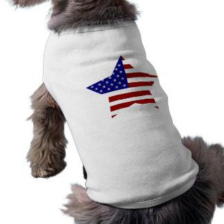 Estrela da bandeira americana camisa sem mangas para cachorro