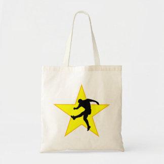 Estrela da silhueta do jogador de futebol bolsa para compras