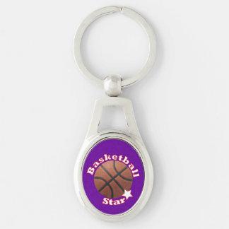 Estrela de basquetebol chaveiro oval cor prata