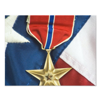 Estrela de bronze na bandeira americana convite 10.79 x 13.97cm