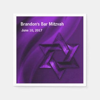 Estrela de David eterno roxa de Mitzvah do bar Guardanapo De Papel