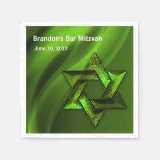 Estrela de David eterno verde de Mitzvah do bar Guardanapos De Papel