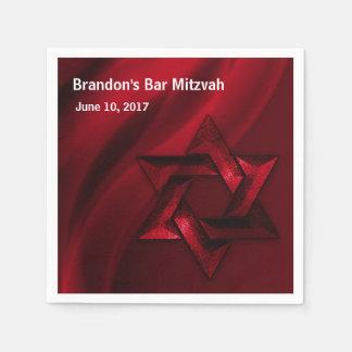 Estrela de David eterno vermelha de Mitzvah do bar Guardanapo De Papel