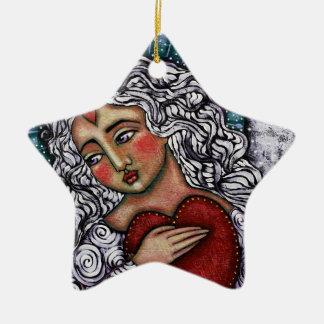 Estrela do anjo do coração do amor ornamento de cerâmica estrela