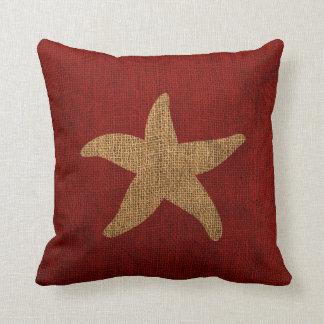 Estrela do mar náutica em vermelho e reverso almofada