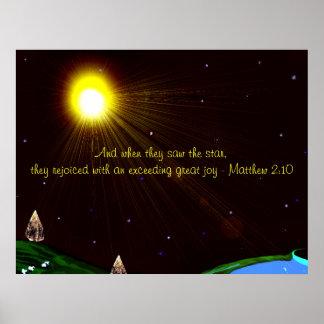Estrela do Natal com poster da escritura Pôster