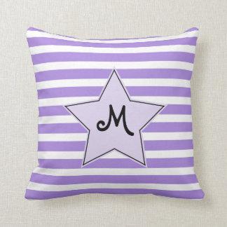 Estrela do rock listrada de Monogramed da lavanda Almofada