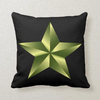 Estrela preta do verde do exército do travesseiro almofada