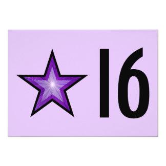 """Estrela roxa """"16"""" preto roxo pálido do aniversário convite 12.7 x 17.78cm"""