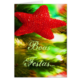 Estrela vermelha de Ano Novo do feliz de Festas e Cartão Comemorativo