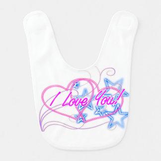estrelas azuis de brilho do heartswith cor-de-rosa babador de bebe
