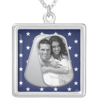 Estrelas azuis e dog tags customizável da foto colar com pendente quadrado