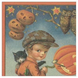 Estrelas da coruja da lanterna de Jack O do gato Tecido