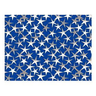 Estrelas de prata em azuis cobaltos cartão postal