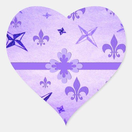 Estrelas e flor de lis adesivos de corações