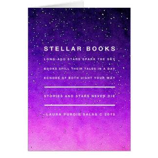 Estrelas e livros cartão