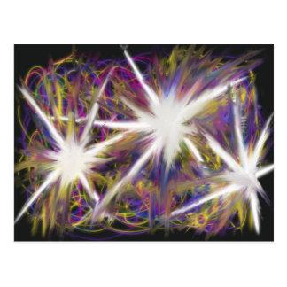 Estrelas no design amarelo cor-de-rosa roxo da cartão postal