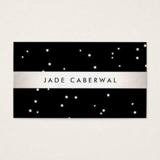 Estrelas preto e branco modernas cartão de visita