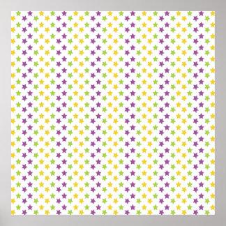 Estrelas roxas verdes e amarelas violetas estre impressão