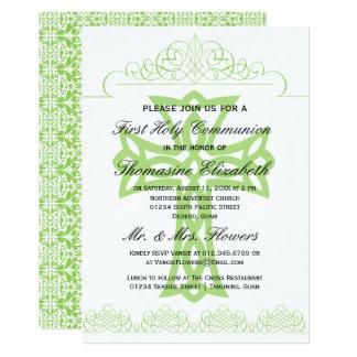 Esverdeie primeiros convites da cruz do comunhão