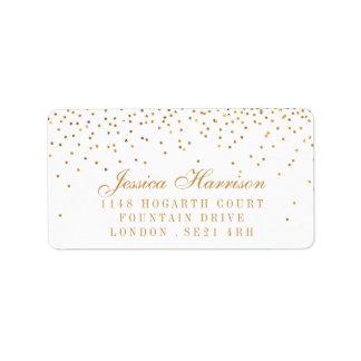 Etiqueta A coleção Glam do casamento dos confetes do ouro